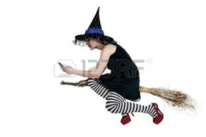 Anonymous journalist on her broom